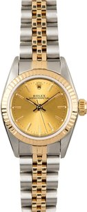 Rolex Rolex Ladies Two-Tone Oyster Perpetual Champagne Dial No Date Watch 67193