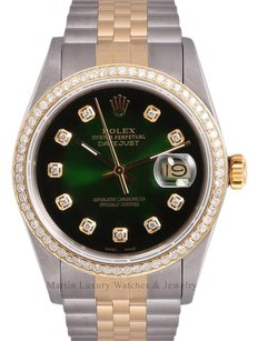 Rolex Rolex Men Datejust 2 Tone 18k-Green Vignette Diamond Dial-Diamond 18k