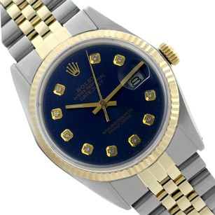 Rolex Rolex Men's Datejust 16013 Navy Blue Dial Original Rolex Fluted Bezel