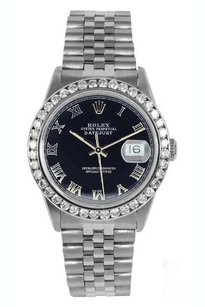 Rolex Rolex Men's DateJust Black Roman 2ct Diamond Bezel Watch 16014