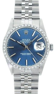 Rolex Rolex Men's DateJust Blue Stick Diamond Bezel Watch 16014