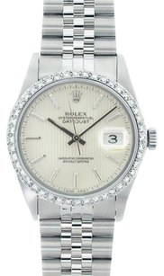 Rolex Rolex Men's DateJust Silver Tapestry Diamond Bezel Watch 16014