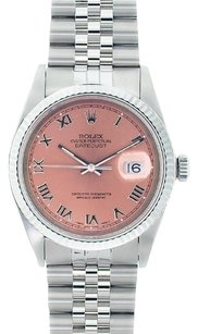 Rolex Rolex Men's DateJust Stainless Steel Salmon Roman Dial Watch 16014