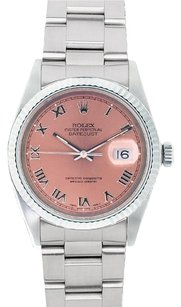 Rolex Rolex Men's DateJust Stainless Steel Salmon Roman Dial Watch 16220