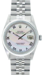 Rolex Rolex Men's DateJust Stainless Steel White Mother of Pearl Dial Watch 16014