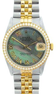 Rolex Rolex Men's DateJust Two-Tone Black Mop Diamond Bezel Watch 16013