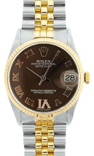 Rolex Rolex Men's DateJust Two-Tone Chocolate Roman Dial Watch 16013