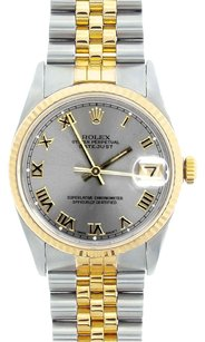 Rolex Rolex Men's Datejust Two-Tone Silver Roman Dial Watch 16013