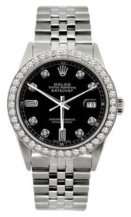 Rolex Rolex Men's Stainless Steel Black Diamond Watch