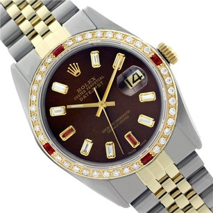 Rolex ROLEX MENS 16013 DATEJUST Two Tone CHOCOLATE BROWN DIAMOND WATCH