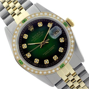 Rolex ROLEX MENS 16013 DATEJUST TWO TONE GREEN VIGNETTE DIAL DIAMOND WATCH