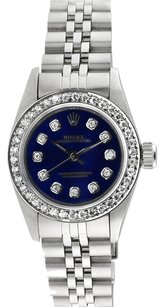 Rolex Rolex Oyster Perpetual Custom Diamond Blue Dial Ladies Watch