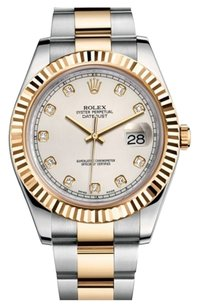 Rolex Rolex Oyster Perpetual Datejust II Ivory Diamond Stainless Steel Men's Watch 116333