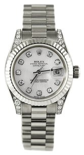 Rolex Rolex Oyster Perpetual Ladies Datejust White Gold President Watch 179239