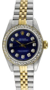 Rolex Rolex Oyster Perpetual 18K Gold and Stainless Steel Custom Diamond Ladies Watch