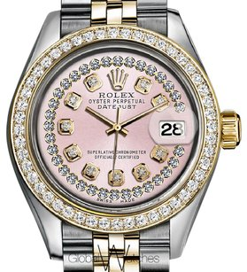 Rolex Rolex Pink String Diamond Dial 2tone 18K Yellow Gold & Stainless Steel