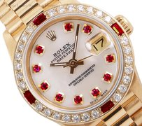 Rolex Rolex President 18k Y. Gold-White MOP Ruby Diamond Dial and bezel