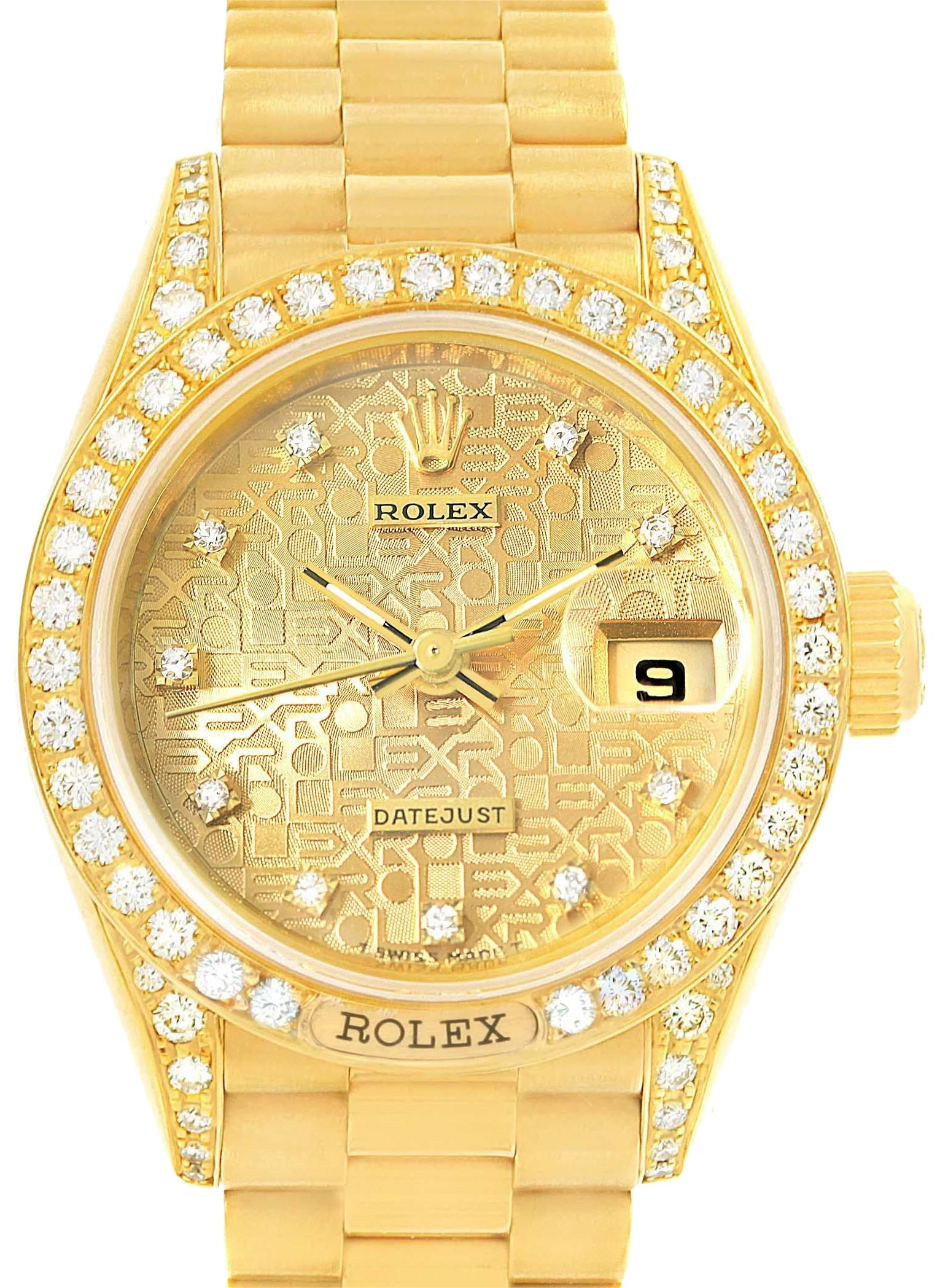 rolex chagne president crown collection yellow gold