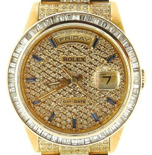 Rolex Rolex Solid 18k Yellow Gold Day-date President Sapphire Pave Full Diamond 18238