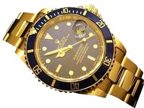 Rolex Rolex Solid 18kt 18k Yellow Gold Submariner Date Watch Oyster Blue Sub 16618