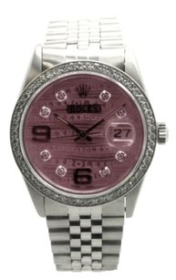 Rolex Rolex SS Datejust Pink Wave Diamond Dial & Bezel Men's Watch