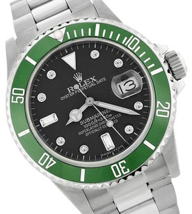 Rolex Rolex Submariner Genuine Diamond Green / Black 16610 40mm SS Watch