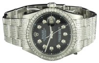 Rolex Mens Diamond Rolex Date Just 1 Stainless Steel Black Dial Mm Oyster Ct