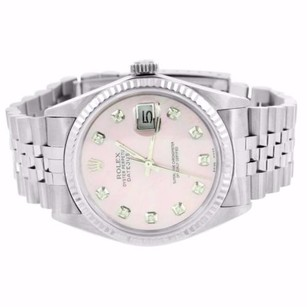 Rolex Date Just I Mens Rolex Diamond Watch Pink Dial Fluted Bezel Stainless Steel