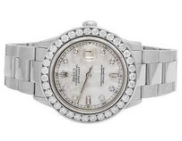 Rolex Rolex 40mm Datejust Oyster Stainless Steel White Mop Dial Diamond Watch Ct