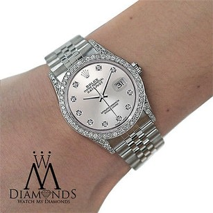 Rolex Rolex Watch- Datejust 16234 36mm - Silver Dial - Diamond Bezel And Lugs- Jubilee