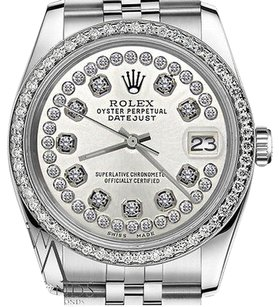 Rolex Mens Rolex 36mm Datejust Stainless Steel Silverstring Diamond Accent Dial Watch