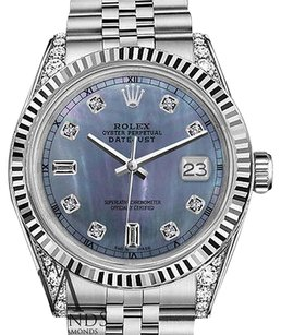 Rolex Mens Rolex 36mm Datejust Tahitian Mop Mother Of Pearl Diamond Dial Watch