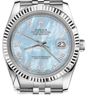 Rolex Ladies Rolex 31mm Datejust Baby Blue Mop Mother Of Pearl Roman Numeral Watch