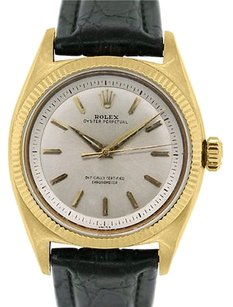Rolex Rolex Oyster Perpetual 6502 18k Yellow Gold On Leather Band Watch