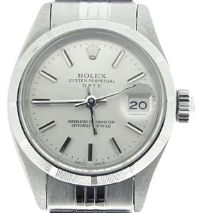 Rolex Rolex Oyster Perpetual Date Lady Stainless Steel Watch Jubilee Silver Dial 6916