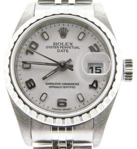 Rolex Rolex Date Ladies Stainless Steel Watch Quickset Jubilee Band White Arabic Dial