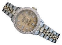 Rolex Rolex Datejust Ladies 14k Gold Steel Watch Champagne Diamond Dial 1ct Bezel