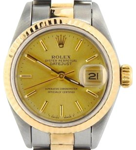 Rolex Rolex Datejust Ladies 2tone 18k Gold Stainless Steel Watch Champagne Dial 69173