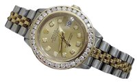 Rolex Rolex Datejust Lady 14k Yellow Gold Steel Watch 1.50ct Diamond Bezel Champagne