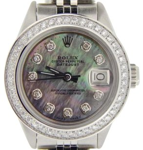 Rolex Rolex Datejust Lady Stainless Steel Watch Black Tahitian Mother Of Pearl Diamond
