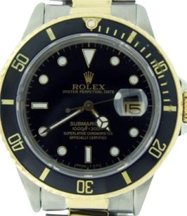 Rolex Rolex Submariner Date 18k Yellow Gold Stainless Steel Watch Black Sub 16803