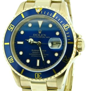 Rolex Rolex Submariner Solid 18kt 18k Yellow Gold Watch Blue Date Sub Oyster 16618