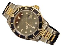 Rolex Rolex Submariner Date 18k Yellow Gold Steel Watch Black Dial Bezel Sub 16803
