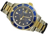 Rolex Mens Rolex Submariner 18k Yellow Gold Stainless Steel Watch Blue Sub Date 16613