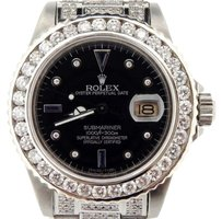 Rolex Rolex Submariner Mens Stainless Steel Watch Black Serti Diamond Dial Bezel Band