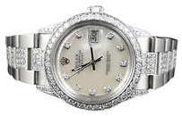 Rolex Mens Excellent Rolex Datejust Oyster Stainless Steel Diamond Watch With Ct