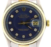 Rolex Mens Rolex Datejust 14k Yellow Gold Stainless Steel Watch Blue Diamond Dial 1601