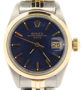 Rolex Rolex Date Ladies 2tone 14k Yellow Gold Steel Watch Jubilee Band Blue Dial 6917