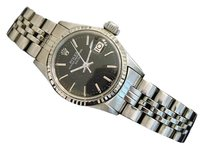 Rolex Vintage Rolex Date Ladies Stainless Steel 18k White Gold Watch Black Dial 6517
