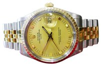 Rolex Mens Rolex Oyster Perpetual Date 34mm Stainless Steel 18k Yellow Gold Watch 1982